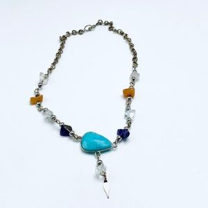 Handmade azurite and natural stone silver anklet